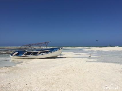 Bateau sur la plage de sable blanc de Zanzibar