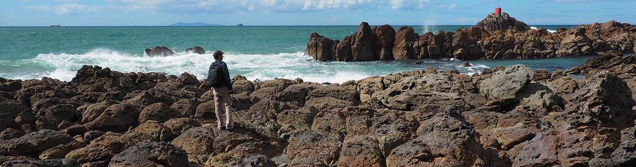 L'océan frappe les rochers de la baie de Tauranga sur l'île du Nord de la Nouvelle-Zélande